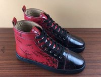 ingrosso marche italiane da sneaker-scarpe a buon mercato progettista del Mens alti inferiori di colore rosso di gomma Genuine Leather suola scarpe di marca della scarpa da tennis italiano formato 35-46 C06