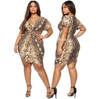 dichtes minikleid plus größe großhandel-Günstige 2019 Frauen plus-size Kleider engen Rock Serpentinenrock dehnbaren Rock Sexy Mode Kleid gedruckt Kleid bequemen Stoff 2XL-5XL