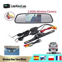 "rear vision mirror camera بالجملة-Leekoolu 2.4 G Wireless Reverse Car Rear Camera HD Video Parking Night Vision CCD Water Against + 4.3 "" TFT Rearview Mirror Monitor"