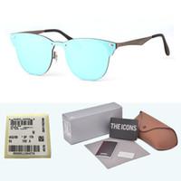 коробки для объективов оптовых-1 шт. Оптовая продажа - бренд дизайнер солнцезащитные очки мужчины женщины высокое качество металлический каркас объектива uv400 модные очки очки со свободными случаями и коробкой