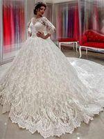 formale kleider für die kirche großhandel-Jahrgang 2019 Dubai arabischen Stil voller Spitze Ballkleid Brautkleider Langarm schiere Hals Applikationen lange Kirche Brautkleider formale BC2037