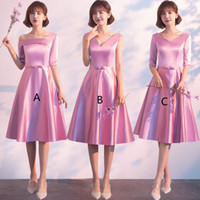 Wholesale satin lace dress burgundy knee length for sale - Group buy Satin Short Bridesmaid Dresses with Bow Knee Length Party Dress Simple Wedding Guest Gowns for Wedding