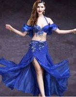 blauer bauchtanz bh großhandel-Günstige Frauen Bauchtanz-Kostüm Bra Gürtel 2-teiliges Set Handgemachte wulstige Performance Show Anzug Red Royal Blue Rose freies Verschiffen