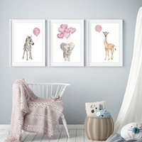 Wholesale abstract elephant painting resale online - 3PCS Posters Giraffe Elephant Zebra with Pink Balloon Animals Wall Pictures Painting Baby Nursery Decoration Gifts
