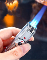 Wholesale lighter torches for sale - Group buy New Arrival Jobon Triple Torch Lighter Jet Gas Cigar Lighter Turbo Windproof Powerful Metal Spray Gun Kitchen Pipe Flint Lighter Outdoor