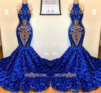 Wholesale halter mermaid dress resale online - Real Photos Royal Blue Mermaid Evening Dresses Halter Neck Petal Flowers with Gold Lace Appliqued Sequins Pageant Prom Party Gowns