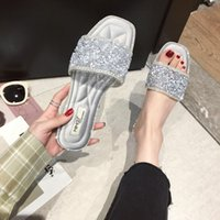 Wholesale beach transparent clothes for sale - Group buy Pretty2019 Word One Transparent Rhinestone Other Clothes Slipper Summer Beach Flat Soft Bottom All match Woman Drag