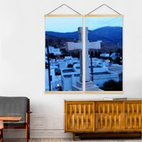 Wholesale wall scenery posters for sale - Group buy Print Wall Artwork Piece Cross Picture Wooden Scroll Hanging Painting Canvas Mountain Scenery Poster Home Living Room Decor