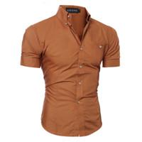 camisa ajustada rosa para hombre al por mayor-De lujo para hombre Slim Fit negocios camisa formal de manga corta con estilo blanco negro marrón azul gris púrpura rosado rojo fresco camisas de los muchachos