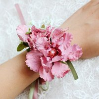 Wholesale bracelets married for sale - Group buy Artificial Rose Flower Wrist Corsage Bracelet Silk Rose Bridesmaid Hand Flowers With Pearl Marry Wedding Party Decoration