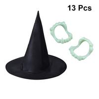 próteses de traje venda por atacado-Chapéu de bruxa e dentaduras luminosas Decoração de Halloween Festa Costume Stage Show Adereços (1PC Hat e 12PCS Luminous Dentures)
