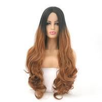 grande perruque brune frisée achat en gros de-Dame de perruque avant de lacet dégradé noir et brun 24inch teint en longs cheveux bouclés grand volume de perruque en fibre chimique perruque