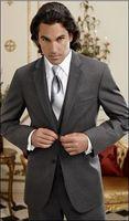 ingrosso due bottoni uomo di giubbotto-Custom-tailor Two Buttons Tute da uomo Nuovo stile Smoking dello sposo grigio scuro Notch bavero Groomsmen Abiti uomo (giacca + pantaloni + cravatta + gilet) G750