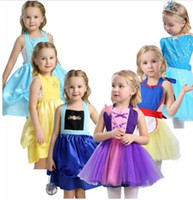 Wholesale costume online - Girls Princess apron dress costume party dress up cosplay outfit christmas dress for baby girls Tutu apron halloween costume KKA6858
