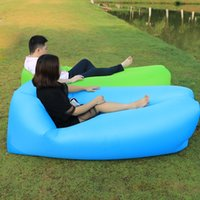 Wholesale goose down sleeping bag 15 resale online - inflatable Hot Sale Fast Inflatable Sofa Lazy Bag Sleeping Bag cm Camping Portable Air Banana Sofa Beach Bed Air Hammock Nylon