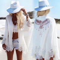 xaile de xadrez de contas de marfim venda por atacado-Mulheres Sexy Maiô Lace Crochet Verão Biquíni Swimwear Cover Up Beach Dress Tamanho One Beach Cover Up