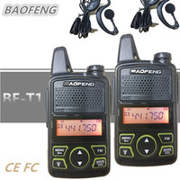 mini walkie talkie baofeng toptan satış-2 ADET BAOFENG BF-T1 Çocuklar Radyo MINI Talkie Walkie UHF Taşınabilir Jambon CB Radyo BAOFENG T1 HF Telsiz Interkom USB Şarj bf t1