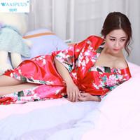 sevimli giyinmiş toptan satış-Yeni varış WAASPUUS japon kimono geleneksel Kadın Robe Bornoz Lady Seksi Gevşek japon yukata sevimli kimono elbise