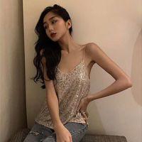 arkalıksız yaz gömlekleri toptan satış-2019 kadın Sparkly Pullu V Boyun Parti Üst Gömlek Moda V Yaka Backless Yaz Yelek Kadınlar için XS-L Z01