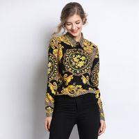 botón de la camiseta de las señoras al por mayor-Mujeres Vintage Impreso Blusa T-Shirt Mujer de manga larga Cuello de vuelta 3D leopardo impresión de oro Streetwear Ladies Button Shirts LJJA2369