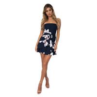 Wholesale gowns style clothes online - Women Clothes Summer Hot Selling Sexy Sleeveless Off shoulder Designer Dress Chiffon Print Women s Dress Short Skirt Dresses