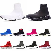 zapatos purpurina rosa plana al por mayor-Balenciaga Diseñador de calcetines zapatos Speed Trainer Hombres Botas de Mujer Triple Negro Blanco Rojo Azul Sock Race Runners Deportes Zapatos de lujo 36-45