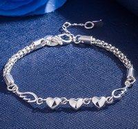 925 gümüş bileklik zincir bağlantıları toptan satış-kadınlar takı hediye toptan ücretsiz gönderim için 925 gümüş kaplama tasarımcı bilezik moda kalp bağlantı zinciri bilezik