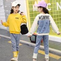 baby girl tops jeans toptan satış-Kızlar İlkbahar Sonbahar Moda Rahat Set çocuk Denim Dikiş Mektubu Yuvarlak Boyun Üst Kot Çocuk Bebek Spor Giysileri