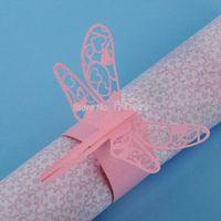decorações da libélula para casamentos venda por atacado-Atacado-48pcs de Pink Dragonfly Paper Guardanapo Ring / Wrap Casamentos Party Home Table Decoration