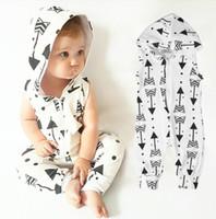 Wholesale boys child garments resale online - Infant Clothing Romper Arrow Baby Boys Kid Clothes Hooded Sleeveless Cute Zipper Jumpsuit Outfits Children Kids Boy Garments