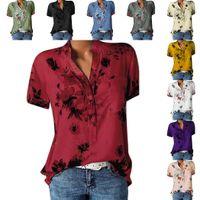 düğme bluzları kısa kollu toptan satış-Yeni Kadın Casual V Yaka Kısa Kollu Baskı Düğme Kapatma Gömlek Bluz Yeni Moda Kadınlar V Yaka Gömlek