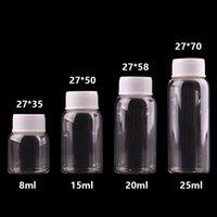 frascos de plástico de 15 ml venda por atacado-8ml 15ml 20ml 25ml pequenas garrafas de vidro transparente com tampa de rosca de plástico branco frascos minúsculo Jar