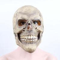 iskelet kaskları toptan satış-YOMDID Korkunç Kafatası Tam Başkanı Gerçekçi Lateks Cadılar Bayramı Maskesi Korku Parti İskelet Cosplay Kostüm İçin Çocuk Yetişkin Kask Maske