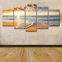 pintura a óleo ondulada venda por atacado-5 Pcs Colorido Sunshine Beach Mar Ondas Pintura A Óleo Seascape Cartaz Arte Da Parede HD Impressão Pintura Da Lona de Moda Pendurado Fotos