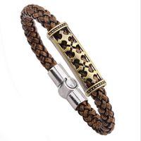 bracelet aigle achat en gros de-Bracelet en cuir tressé pour les hommes - Eagle Cross tresse fermoir magnétique Bracelets masculins Bracelets copain Hip hop bijoux cadeaux