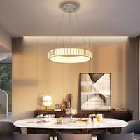 ingrosso sospesi bar a cristallo lampadario-Lampadario a sospensione a led moderno in cristallo per sala da pranzo soggiorno bar cucina camera bianco / oro 90-260V apparecchio lampadario a sospensione