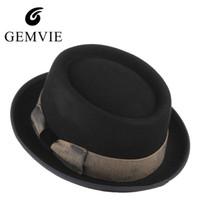 ingrosso cime naturali d'epoca-Cappello di Steampunk di colore nero per gli uomini Bowknot dell'annata cappello di lana di Fedora maschio Chiesa Jazz Caps Caldo cappelli invernali regali di Natale D19011102