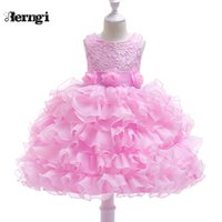 pastel de boda tutu al por mayor-Berngi Baby Toddler Kids Dress For Party Wedding Girls Layut Tutu Cake Dress Para ocasiones formales Prom Ball vestidos vestido J190709