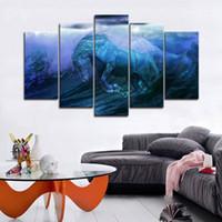 pintura abstracta de las olas del océano al por mayor-5 piezas grandes enmarcadas Blue Sea Wave Ocean Horse cuadros abstractos del arte de la pared para la habitación de la cama Decoración de la pared Carteles e impresiones Pintura de la lona