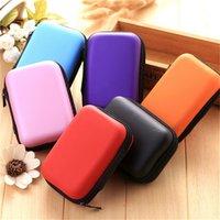 naylon çanta taşımak toptan satış-1 ADET Kozmetik Çanta Sert Naylon Taşıma Çantası Bölmeleri Durumda Kapak Kulaklık Kulaklık Takı Çantası 6 Renkler # 310911