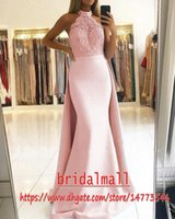 Wholesale beaded halter sexy dress for sale - Group buy Halter Pink Satin Evening Dresses Mermaid Beaded Pearls Lace Islamic Dubai Formal Evening Gowns Saudi Arabic Long Prom Dress Overskirts