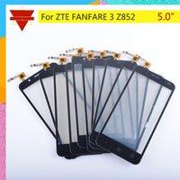 vidro táctil zte venda por atacado-10 Pçs / lote Digitador Da Tela de Toque Para ZTE FANFARE 3 Z852 Painel Sensível Ao Toque Da Lente Da Tela Sensível Ao Toque Sensor de Vidro Frente NÃO LCD Z852