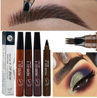 Wholesale color forks resale online - New Microblading Eyebrow Pen Waterproof Fork Tip Eyebrow Tattoo Pencil Long Lasting Professional Fine Sketch Liquid Eye Brow Pencil