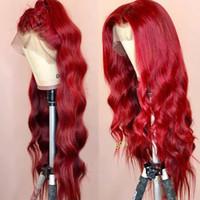 dantel ön peruk yapımı toptan satış-Dalgalı Renkli Dantel Ön İnsan Saç Peruk Önceden Yapılmış Tam Frontal Kırmızı Bordo Remy Siyah Kadınlar Için Brezilyalı Peruk Yapabilir