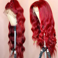 Wholesale red hair wavy resale online - Wavy Colored Lace Front Human Hair Wigs PrePlucked Full Frontal Red Burgundy Remy Brazilian Wig For Black Women Can Make