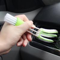 vw iç mekanlar toptan satış-Araba klima çıkış enstrüman masası temiz fırça toz fırçası çift iç temiz yumuşak fırça araba temiz İnce fiber vw bmw aud için