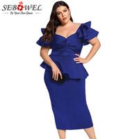 ingrosso vestito midi peplum blu-SEBOWEL Blue Plus Size Vestito a maniche lunghe a maniche lunghe Donna Sexy Bodycon Twisted Peplo Dress grandi dimensioni 5XL Elegante abito da sera Midi
