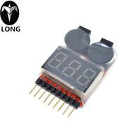 lipospannungsalarm großhandel-Niedrige Spannung Summer Alarm 1-8S Lipo / Li-Ion / Fe Batteriespannung 2IN1 Tester Best Selling