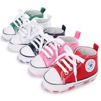 Wholesale sole cute online - Kids Baby Canvas Lace up Shoes Walkers Girls Soft Sole Anti slip Casual colorful types baby cute walking learning shoes QQA403