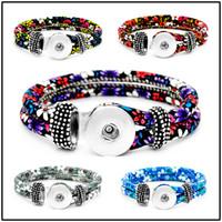 snap buttons jewelry venda por atacado-Novo 18mm Couro Snap Strands Botão Pulseira Botão Floral Pulseira Relógios De Pulso Noosa DIY Jóias K3710